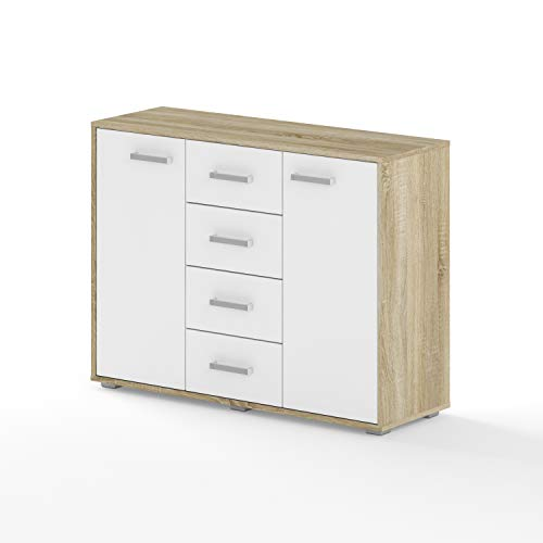 BIM Furniture Dynamic24 Aurora VIII - Cómoda (120 x 35 x 80 cm, 4 cajones), color blanco