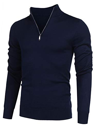 COOFANDY Men's Quarter Zip Sweaters Slim Fit Lightweight Cotton Mock Turtleneck Pullover Navy Blue