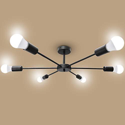 MIFIRE lámpara colgante vintage 6 brazos lámpara de techo retro lámpara colgante...
