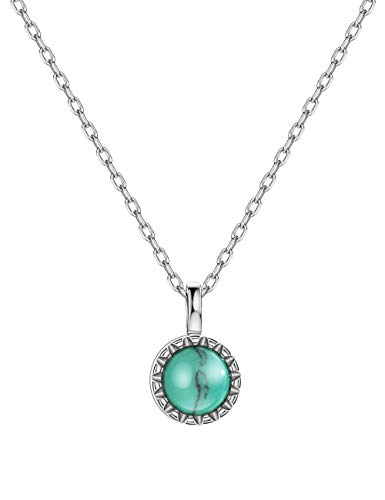 925 Sterling Silver Dainty Turquoise Pendant Necklace Petite Birthstone Layering Necklace for Women Girls