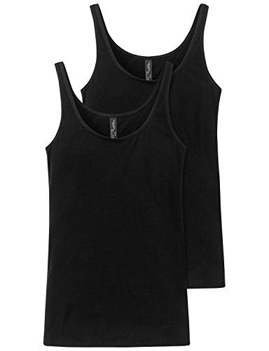 Schiesser Damen Trägertop (2er Pack) Unterhemd, Schwarz (schwarz 000), 42