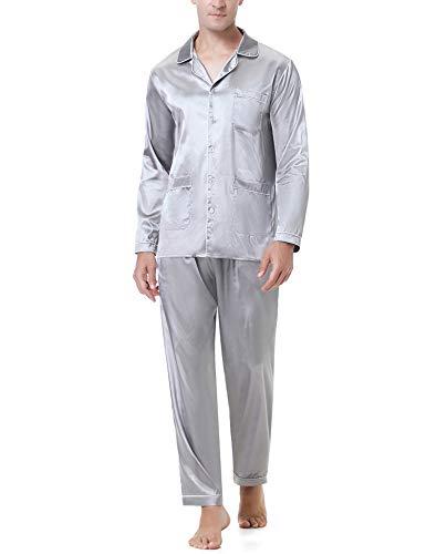 Aibrou Męska satynowa piżama zestaw z listwą guzikową i kieszenią, strój domowy, bielizna nocna, dwuczęściowa piżama z długim rękawem i spodnie piżamowe