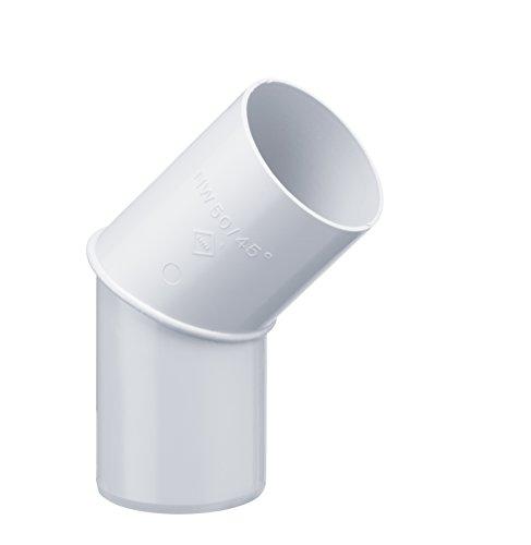 INEFA Rohrbogen, winkel für Fallrohr 45 Grad Weiß DN 50 - Kunststoff, Fallrohrbogen, Winkel für Regenfallrorhr, Rohr Fallrohr - Verbinder, Zubehör, Rohrverbinder Regenrinnen