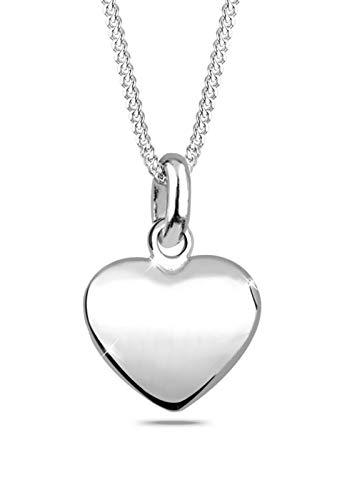 Elli Damen Schmuck Halskette Kette mit Anhänger Herz Liebe Freundschaft Plättchen Silber 925 Länge 45 cm