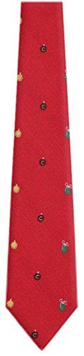 BuyYourTies Herren Krawatte mit Weihnachtsmotiv - Rot - Einheitsgröße