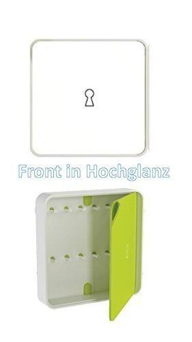 Conny Clever Schlüsselschrank aus Hochwertigem Kunststoff 32x32cm weiß Glanzoberfläche/Haky Box/Key Box/Schlüsselbox / Schlüsselkasten