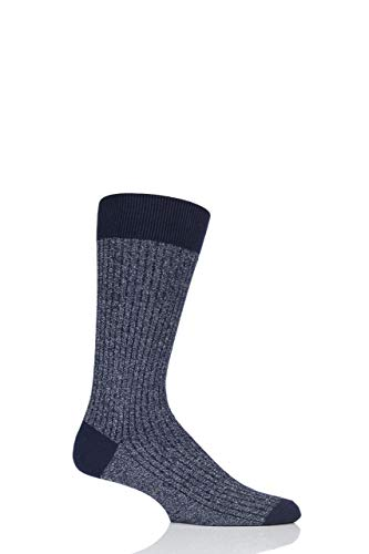 Pantherella Herren 1 Paar Scala Kaschmir-Mischung funkeln gerippte Socken Marine 41-43