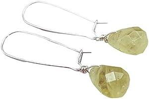 Pendientes de Plata 925 y Citrino Amarillo Limon, Joyas Artesanales de Piedras Naturales, Piedra de Noviembre