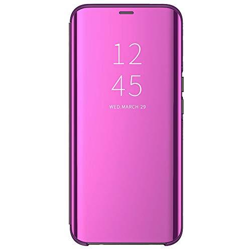ALAMO Spiegel Flip Hülle für Xiaomi Poco M3 (Pocophone M3), Premium Smart View Handyhülle mit Zeit Fenster - Lila