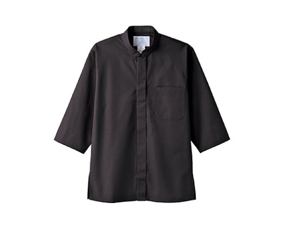 キルト肝滑りやすい調理シャツ 男女兼用 7分袖 黒/61-6078-60