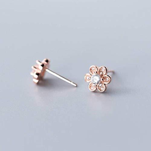 WOZUIMEI S925 Hongo Blanco Uña Femenina Estilo de Arte Coreano Lindo Seis Pétalos Flor Pequeña Flor Diamante Pendientes de Modaoro rosa