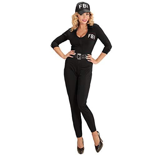 NET TOYS Figurbetontes FBI-Kostüm für Damen - Schwarz L (42/44) - Aufreizende Frauen-Verkleidung Polizei-Overall mit Kappe & Gürtel - Genau richtig für Mottoparty & Kostümfest