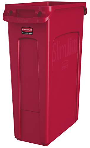 Rubbermaid Commercial Vented Slim Jim Trash Can Waste Receptacle, 23 Gallon, Red, Plastic, 1956189