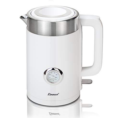 Linnuo Wasserkocher Weiß mit Temperaturanzeige 1,7L 2200W - ideal für Babynahrung Tee - Doppelwand - Schutz vor Verbrennung - Electric Kettle - abnehmbarer Kalkfilter & Kunststoffteil innen BPA-frei