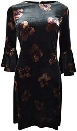 Tommy Hilfiger Womens Velvet Floral Print Party Dress Black 10 product image
