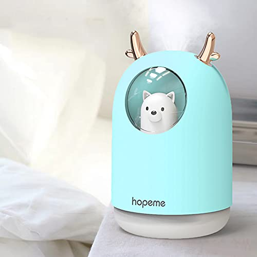 HOPEME Cool Mist USB Humidifier with Adjustable Mist Mode, 300ml Water Tank Lasts Up to 10 Hours, 7 Color LED Lights Changing, Waterless Auto Shut-Off for Bedroom, Home, Office (Sky Blue)…