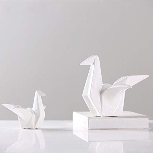 joyMerit Home Decorativo Cerámica Porcelana Origami Crane Statue Home Wedding Party Mesa Centros De Mesa - S