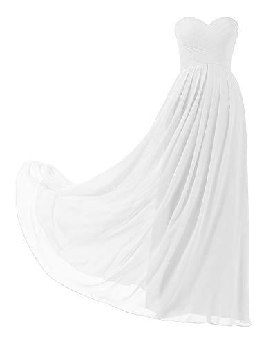 HUINI Ballkleider Trägerlos Schulterfrei Chiffon Lang Brautjungfernkleid Abendkleider mit Schnürung Falten Promkleid Partykleid Hochzeit Cocktail Kleider Weiß 38