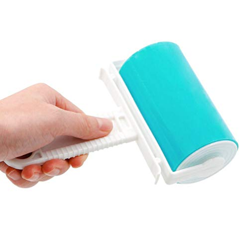 UEETEK Rodillo Quitapelusas Cepillos Quita Pelusa adhesivo para Quitar Pelos de Perro y Gato Reutilizable Lavable (Azul)