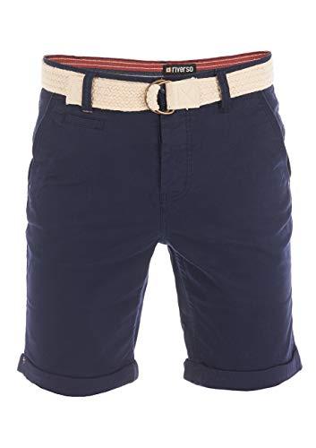 riverso Herren Chino Shorts RIVHenry Gürtel Bermuda Kurze Hose 98% Baumwolle Hellblau Dunkelblau Navy Rot Grün Orange Beige Grau w30 - w42, Größe:W 38, Farbe:Dark Navy (19400)