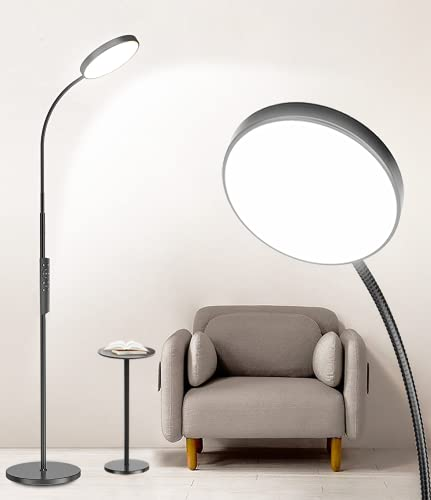 LED Floor Lamp Keepsmile with Touch and Remote Control 4 Color Standing Lamp with Stepless Dimmer Memorable Led Lamp Adjustable Gooseneck Reading Floor Lamps for Bedrooms, Living Room and Office