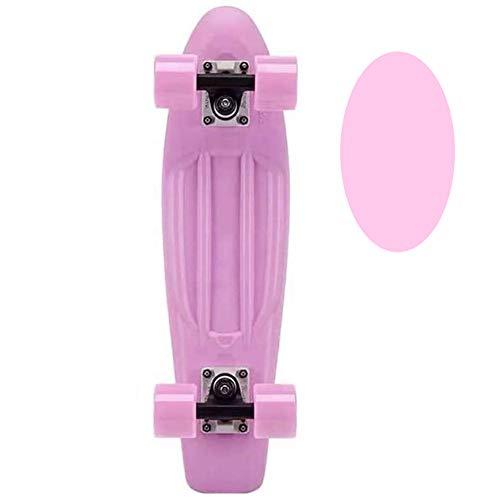 FGKING Kinder-Skateboard, Klassische Kunststoff-Kreuzer Skateboard für Anfänger 22 Zoll Intensive Beschleunigung kompletten Mini-Skateboards für Mädchen/Junge Anfänger/Jugendliche/Erwachsene,Rosa