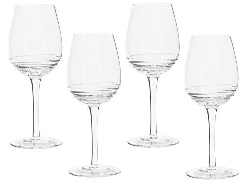 MIKASA Ciara cannelé à vin Blanc Verres, Verre, Transparent, 4 pièces