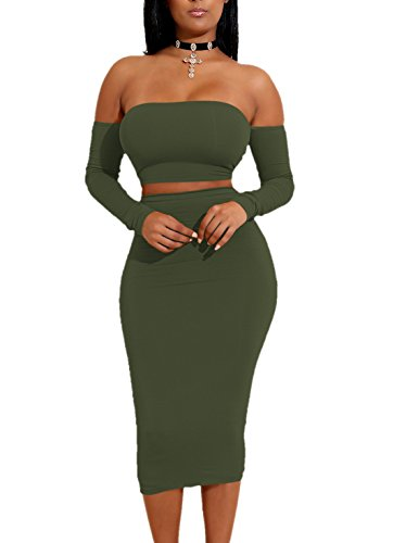 Ropaus Women's Sexy Off Shoulder Long Sleeve 2 Pieces Crop Top Bodycon Skirt Bandage Party Club Dress Army Green Small