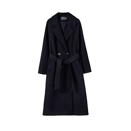 Diaod Abrigo de Lana de otoño Mujeres Abrigo Largo Chaqueta 50% Lana para Mujer Outwear Outwear Double Breasted Outwear (Color : Black)