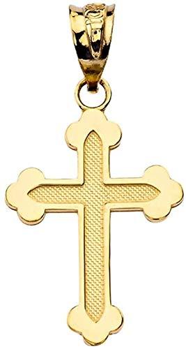 Colgante de cruz ortodoxa griega delicada en oro amarillo sólido de 10 k