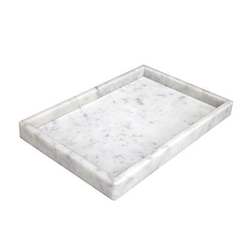 BustleDust Bandeja de mármol natural italiana rectangular y bandeja para servir para baño, cocina y mesa de café (Bianco Carrara, 30 x 20 x 3 cm), color blanco
