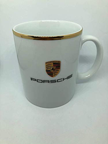 Porsche Driver's Selection Becher Tasse Wappen Klein 250ml | Goldener Rand | Made in Germany | NUR Hier + Extra Schlüsselring Mit Schraubverschlusss | Set