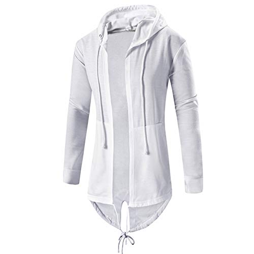 ZUEVI Men's Zipper Assassin's Robe Hoodies Drawstring Cosplay Jacket(White-M)