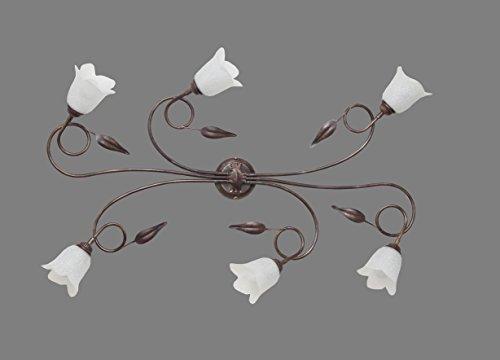 Made in Italy SILVIA Plafoniera classica Lampada a Soffitto in ferro battuto Illuminazione da e per interni lampadari soggiorno salotto camera letto prodotto in Italia da Valastro Lighting VALFB34516 PL6 NRO