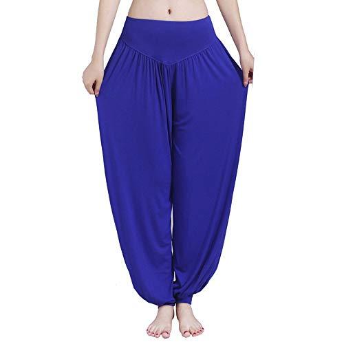 Haremshose Damen Sommerhose Damen Leicht Pumphose Culottes Hosen Boho Hose Hohe Taille Yoga Fitness Weites Plus Size Umstandshose Hippie Kleidung Haremshosen Frauen Aladinhose (Blue, XL)