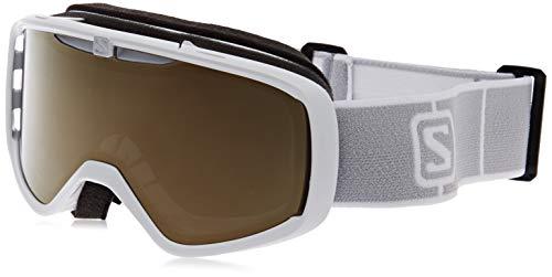 Salomon, AKSIUM ACCESS, Máscara de esquí Unisex, Ajuste Mediano-Pequeño, Blanco/Universal Gold, L41151600