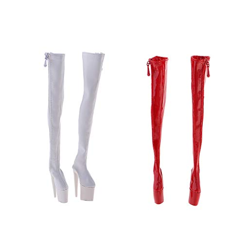 T TOOYFUL 2 paar PU-lederen overknee laarzen met hoge hak voor 30,5 cm actiefiguur