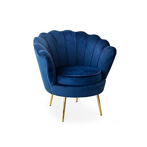 Tuoni Frida, poltrona design vintage in velluto blu, con gambe in oro lucido, elegante e preziosa per living e salotti