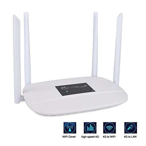 ASHATA WLAN router, draagbare 4G LTE WiFi Wireless Router High Speed 150 Mbps Gigabit WLAN-router, 2,4 GHz WiFi Signal Repeater met antenne, ondersteunt 4G SIM-kaart/LAN EU-stekker