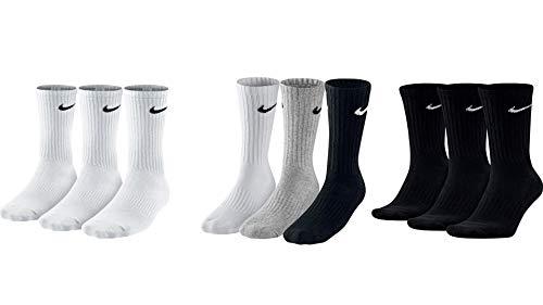 Nike 9 Paar Herren Damen Socken SX4508 weiß oder schwarz oder weiß grau schwarz, Sockengröße:42-46, Farbe:1 x weiß 1 x grau 1 x schwarz