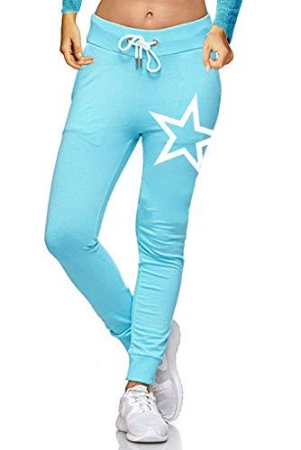 ZAHIDA Damen Hose Jogginghose Trainingshose Schlafanzug Joggen Sweatpants Stern 005 (Türkis, XS (36))