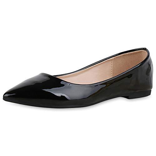 SCARPE VITA Damen Klassische Ballerinas Lack Slippers Slip On Schuhe Flats 174418 Schwarz 37