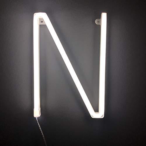 Smiling Faces UK Neon LED weiße Buchstaben Licht Zeichen - Wandbehang batteriebetrieben - Brief N