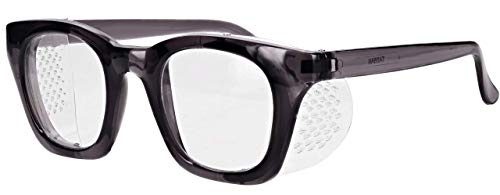 Glass Safety Glasses in Plastic Charcoal Safety Frame with Permanent Side Shields, 50mm Eye Size, Clear Glass Lenses