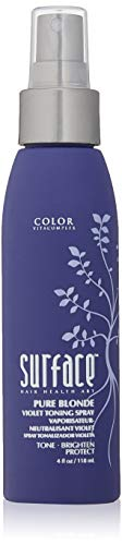 Surface Hair Pure Blonde Violet Leave-In Toning Spray, Tone Enhancer and Treatment, Eliminates Brassy Yellow Tones - Ligtens Blonde, Platinum, Ash, Silver, and Grays, 4 Fl Oz