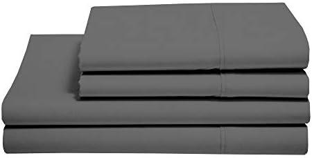 Queen Size Sheet Set – Easy Fit – 400 Thread Count Sheets – Egyptian Long Staple Cotton Sheet Set – 15″ Deep Pocket Sheets – Queen Bedding Sheets – 4 Piece Queen Sheets, Dark Grey