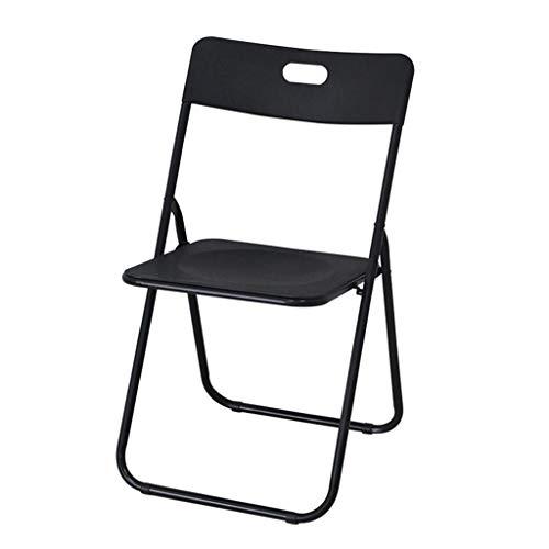 Chaise Pliante portative en Plastique de ménage Simple réunion de Bureau Chaise de Formation Informatique avec Dossier (46 * 46 * 79cm) (Couleur : Noir)
