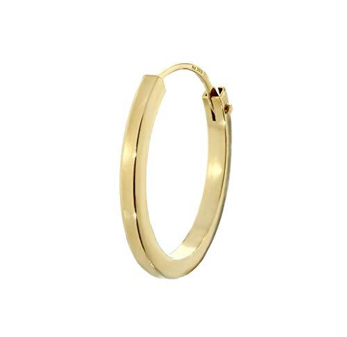 NKlaus Einzel 585er 14 Karat Gold gelbgold Creole Ohrring Ohrschmuck Quadratisch 14mm Stärke 1,5mm 2574