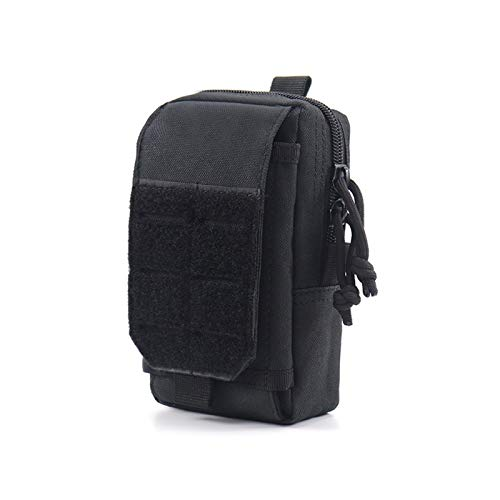 Outdoor Nylon Tactical Molle Pouch Men Waist Belt Bag Outdoor Sport Purse Mobile Phone Case Army Military EDC Pack Hunting Tool Bag for Outdoor Hiking Fishing Bum Bag (Color : Black Bag)