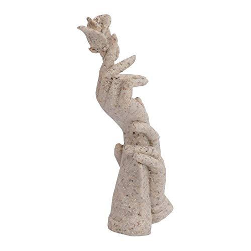 Baoblaze Mano con Rosa en los Dedos Escritorio estatuas Dedos Escultura Creativa hogar Sala gabinete decoración Estante - Beige